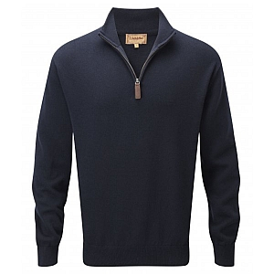 Schoffel Cashmere/Cotton 1/4 Zip Jumper Navy