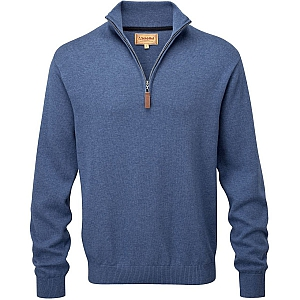 Schoffel Cotton/Cashmere 1/4 Zip Stone Blue