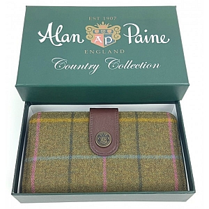 Alan Paine Compton Ladies Large Tweed Purse Dark Olive