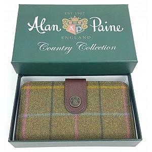 Alan Paine Compton Ladies Large Tweed Purse Dark Olive
