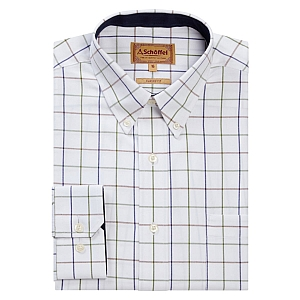 Schoffel Brancaster Navy/Brown/Olive Wide Check Shirt