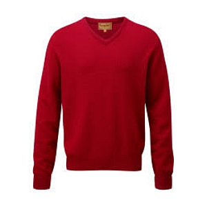 Schoffel Lambswool V Neck Jumper Red